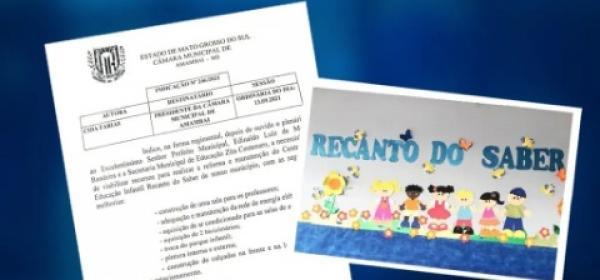 Vereadora Cida Farias pede melhoria para o Recanto do Saber