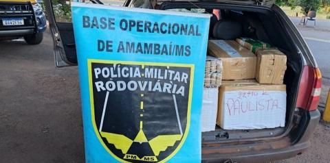 Polícia Militar Rodoviária de Amambai apreende Palio carregado com 460 quilos de maconha