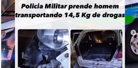 Policia Militar prende homem transportando 14,5 Kg de drogas