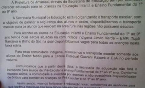 Vilas Santo Antônio e N.S. Aparecida ficam sem transporte escolar