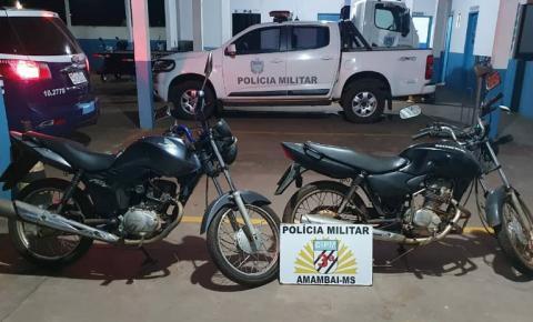 Polícia Militar recupera duas motos furtadas na madrugada